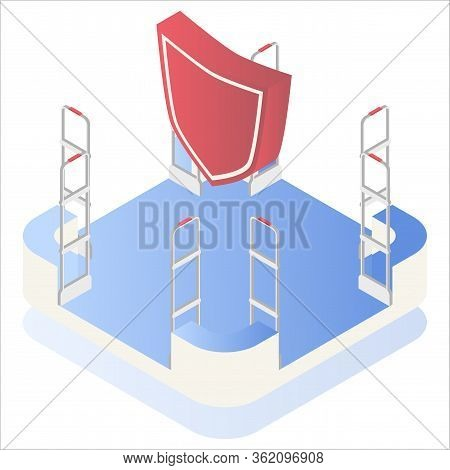 Isometric Vector Illustration, 3d. Preventing Shoplifting Scanner Gate System On All Sides. Security