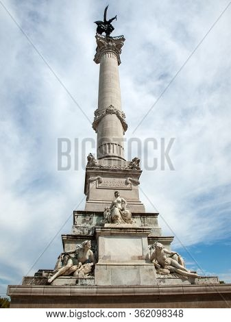 Esplanade Des Quinconces, Fontain Of The Monument Aux Girondins In Bordeaux. France
