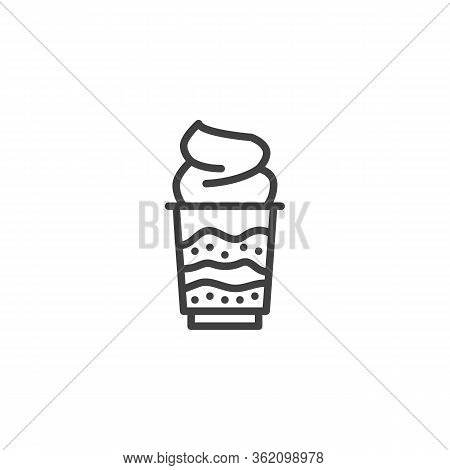 Whipped Ice Cream Line Icon. Linear Style Sign For Mobile Concept And Web Design. Sundae Ice Cream D