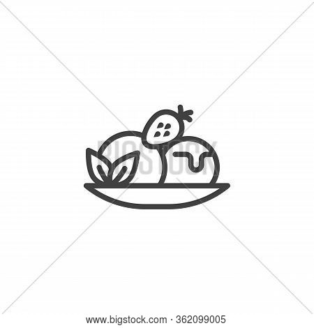 Fruit Sundae Ice Cream Cone Line Icon. Linear Style Sign For Mobile Concept And Web Design. Strawber