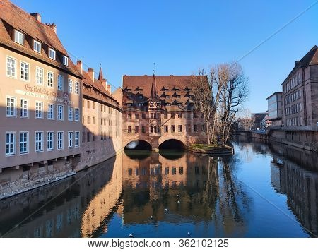 Nuremberg, Germany - January 01, 2020: View Of The Heilig-geist-spital, A Historical Hospital On The