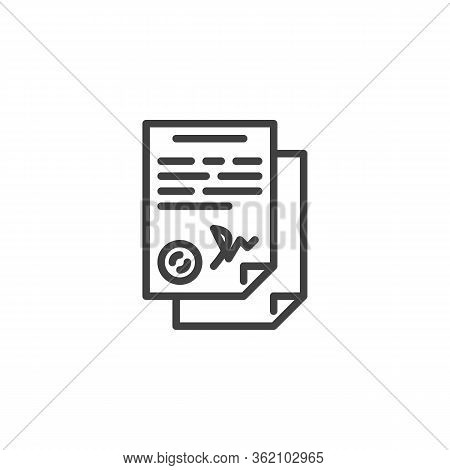 Agreement Contract Signature Line Icon. Linear Style Sign For Mobile Concept And Web Design. Legal D