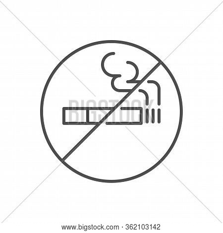 No Smoking Prohibition Sign Related Vector Thin Line Icon. Prohibition Sign Cigarette . Isolated On