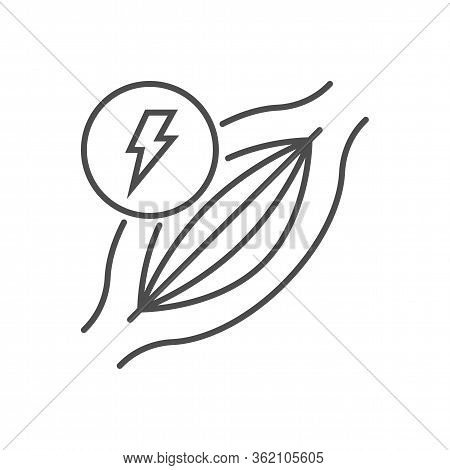 Muscle Pain Related Vector Thin Line Icon. Muscle With Lightning. Isolated On White Background. Edit