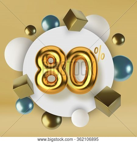 80 Off Discount Promotion Sale Made Of 3d Gold Text. Number In The Form Of Golden Balloons.realistic