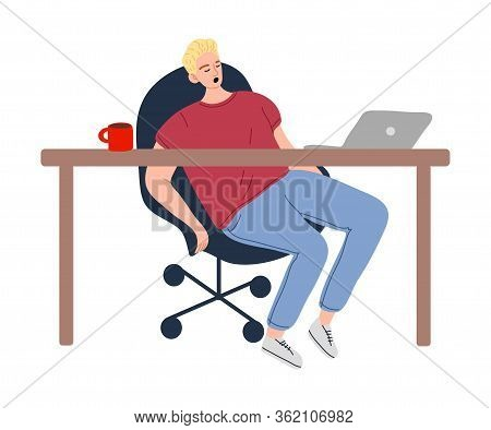 Man Napping In Chair In Office During Dinner Time Vector Illustration