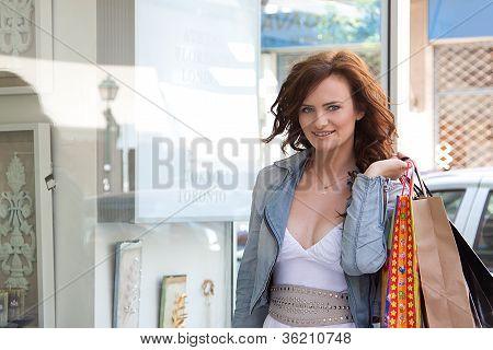 A woman makes a purchase