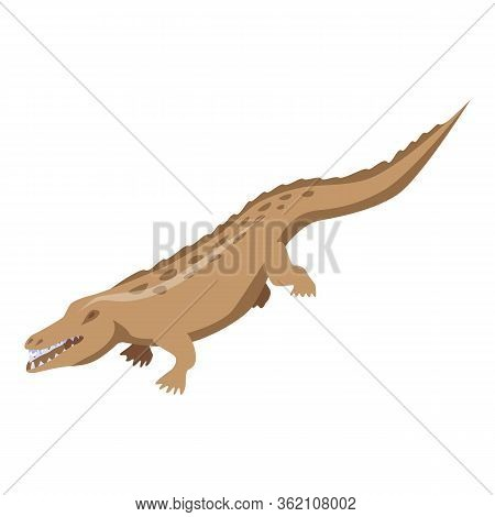 Brown Alligator Icon. Isometric Of Brown Alligator Vector Icon For Web Design Isolated On White Back