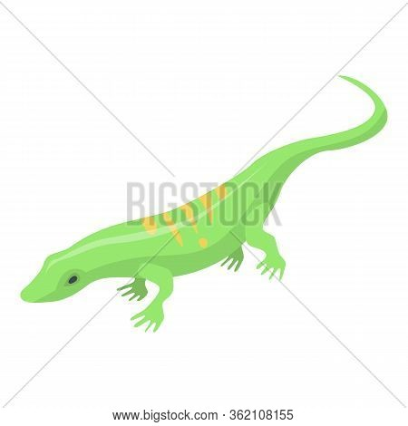 Striped Green Lizard Icon. Isometric Of Striped Green Lizard Vector Icon For Web Design Isolated On