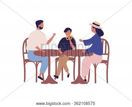 Cartoon Family Sitting At Table In Cafeteria Vector Flat Illustration. Colorful Parents And Kid Boy