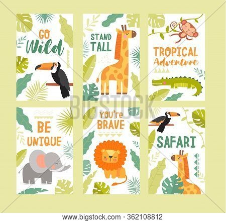Set Of Four Colorful Tropical Wildlife Safari Posters With Cute Cartoon Animals And Assorted Text Wi