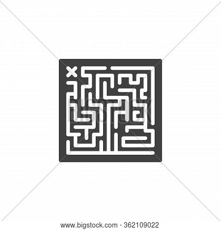 Maze Labyrinth Vector Icon. Filled Flat Sign For Mobile Concept And Web Design. Labyrinth Board Game