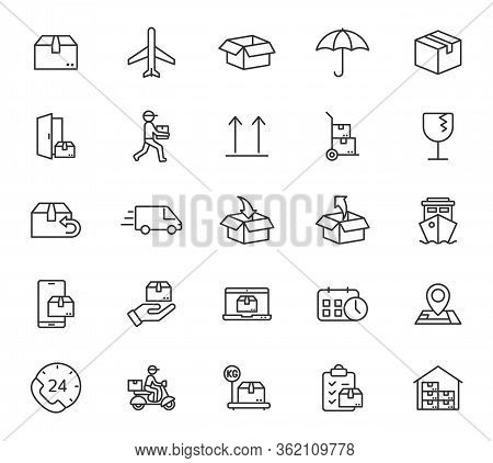 Shipping And Delivery Outline Vector Icons Isolated On White Background. Express Delivery And Global