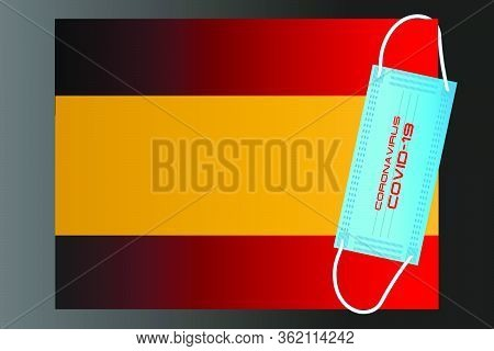Spain Flag With Vector Illustration Of Disposable Mask And Covid-19 Inscription