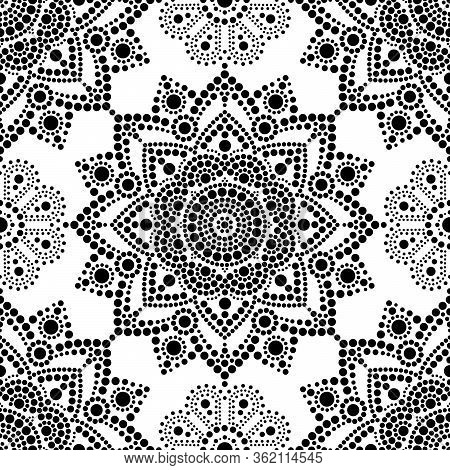 Aboriginal Dot Painting Seamless Pattern, Bohemian Mandala Vector Dot Art, Retro Folk Design Inspire