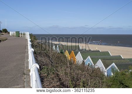Southwold Beach And Seafront, Suffolk, England, On A Sunny Day