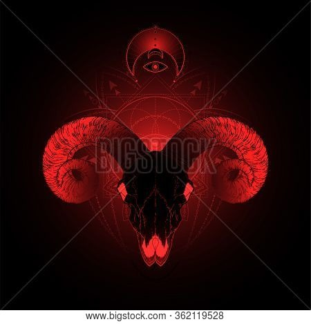 Vector Illustration With Hand Drawn Ram Skull And Sacred Geometric Symbol On Black Background. Abstr