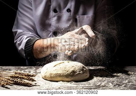 Preparing Traditional Homemade Bread. Close Up View Of Baker Kneading Dough. Homemade Bread. Hands P
