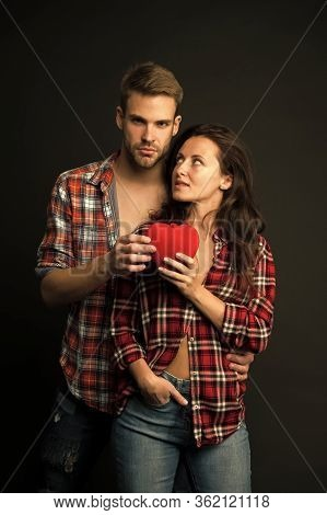 Sensual Couple Red Heart. Happy Valentines Day. Love And Romance. Man And Girl On Romantic Date. Cou