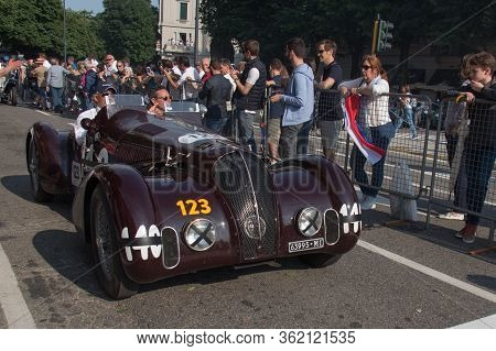Brescia, Italy - May 19 2018: Alfa Romeo 6c 2300 B Mm Spider Touring 1938 Is An Old Racing Car In Ra
