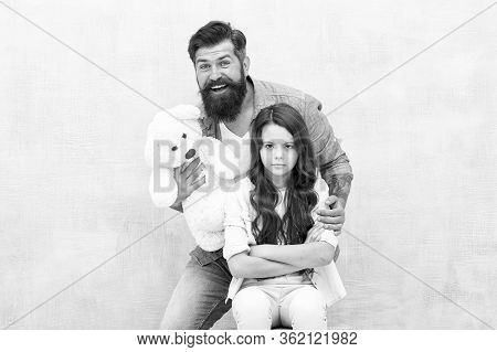 Cheer Up. Making Surprise. Lovely Father And Kid. Father And Daughter Light Background. Strengthenin