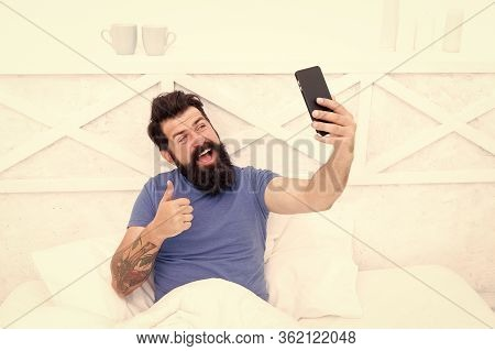 Just Thumb Up. Happy Hipster Give Thumb Up To Phone Camera. Bearded Man Smile With Thumb Up And Smar