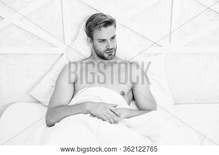 Perfect Rest. Man Handsome Guy Relax In Bed. Get Enough Amount Of Sleep. Tips Sleeping Better. Unsha