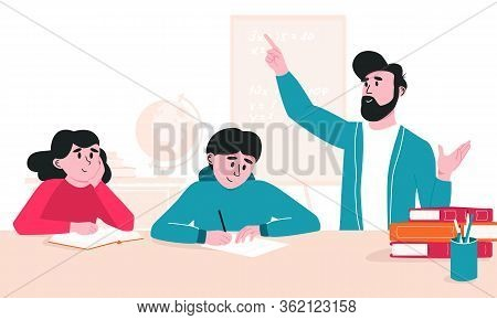 Dad Doing Homework With Kids. Father Explaining Study Material To Boy And Girl Listening And Taking