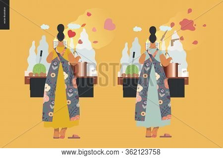 World Book Day Graphics, Woman Cooking Template, Book Week Events. Modern Flat Vector Concept Illust