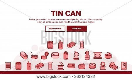 Tin Can Container Landing Web Page Header Banner Template Vector. Metallic Tin Can Package For Fresh