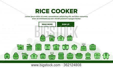 Rice Cooker Landing Web Page Header Banner Template Vector. Rice Cooker Electronic Device For Cookin