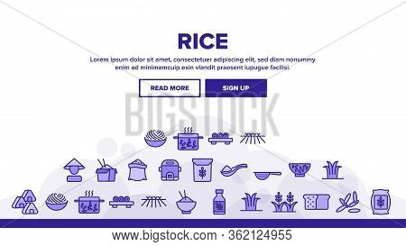 Rice Chinese Culture Landing Web Page Header Banner Template Vector. Rice Bread And Boiling Dish, Ha