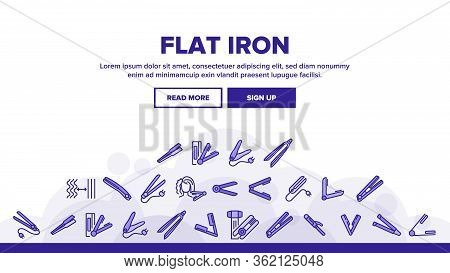 Flat Iron Equipment Landing Web Page Header Banner Template Vector. Flat Iron Hairdresser Device, Ap