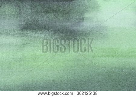 Abstract Art Background Light Green And Cyan Colors. Watercolor Painting On Canvas With Soft Olive G