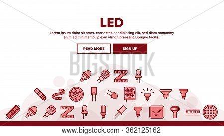 Led Lamp Landing Web Page Header Banner Template Vector. Led Technology Light Device, Lighting Tape