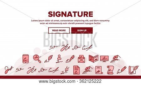Signature Signing Landing Web Page Header Banner Template Vector. Human Own Signature On Partnership