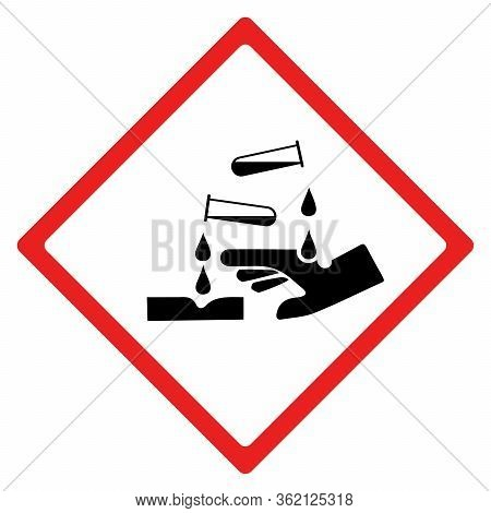 Corrosion Hazard Sign Or Symbol. Vector Design Isolated On White Background.  Latest Hazard Signs Co