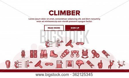 Climber Equipment Landing Web Page Header Banner Template Vector. Climber Helmet And Glasses, Boot,