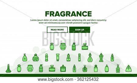 Fragrance Bottles Landing Web Page Header Banner Template Vector. Fragrance Perfume Decorative Form