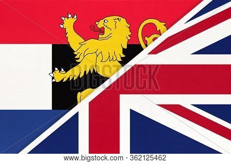 United Kingdom Of Great Britain And Ireland Vs Benelux Union National Flag From Textile, Netherlands