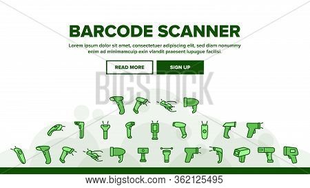 Barcode Scanner Device Landing Web Page Header Banner Template Vector. Scanner Electronic Equipment