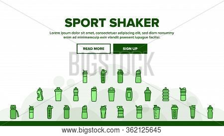 Sport Shaker Tool Landing Web Page Header Banner Template Vector. Sport Shaker Cup In Different Desi