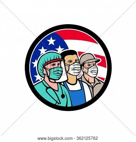 Mascot Icon Illustration Of American Nurse, Doctor, Grocery, Pharmacist, Emt, Delivery, Trucker, Foo