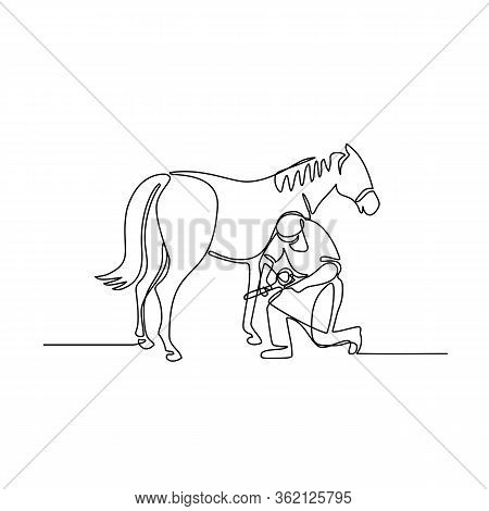 Continuous Line Illustration Of A Farrier Working On A Horse, Trimming Hoof Done In Black And White