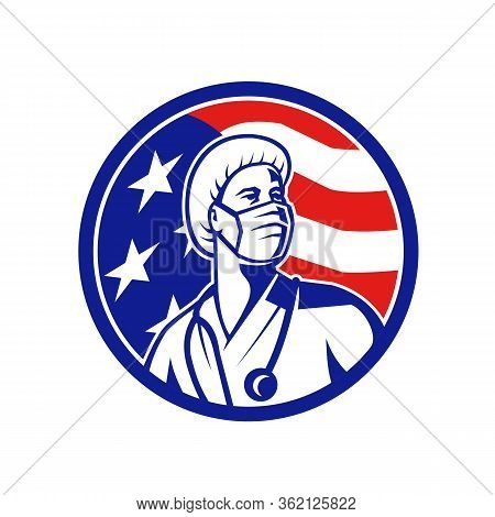 Mascot Icon Illustration Of An American Female Nurse, Healthcare Professional Or Medical Doctor, Wea