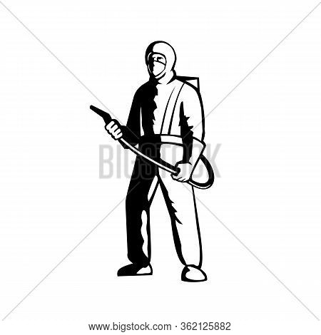 Illustration Of An Industrial Worker, Healthcare, Essential Or Pest Exterminator Wearing A Respirato