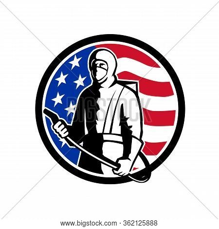 Illustration Of An American Industrial Worker, Healthcare, Essential Or Pest Exterminator Wearing A