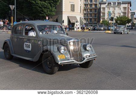 Brescia, Italy - May 19 2018: Lancia Aprilia 1350 1937 Is An Old Racing Car In Rally Mille Miglia 20