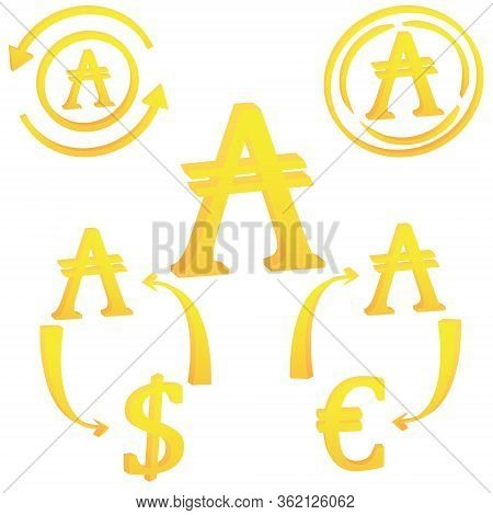3d Argentinian Austral Set Currency Symbol Icon Of Argentine Vector Illustration On A White Backgrou