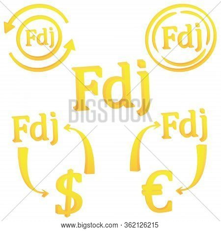 3d Set Djiboutian Franc Currency Symbol Icon Of Djibouti Vector Illustration On A White Background